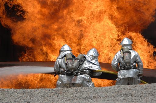 Pompiers en entrainement