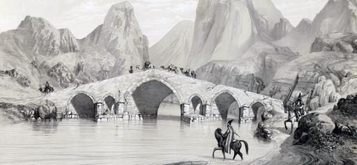 Pont du Kizil Hauzen en Iran en 1840