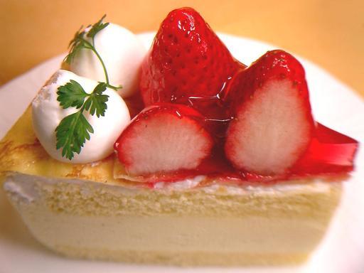 Portion de gâteau à la fraise