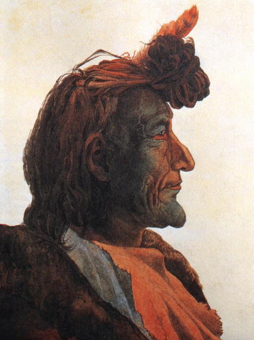 Portrait d'un chef indien Pied-Noir en 1833
