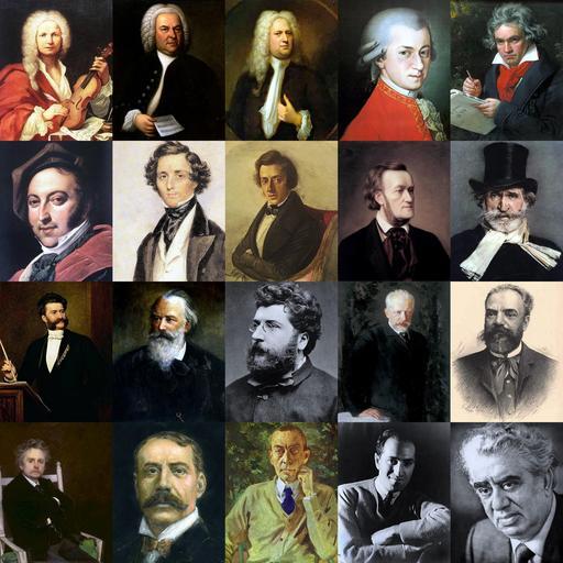 Portrait de vingt compositeurs célèbres