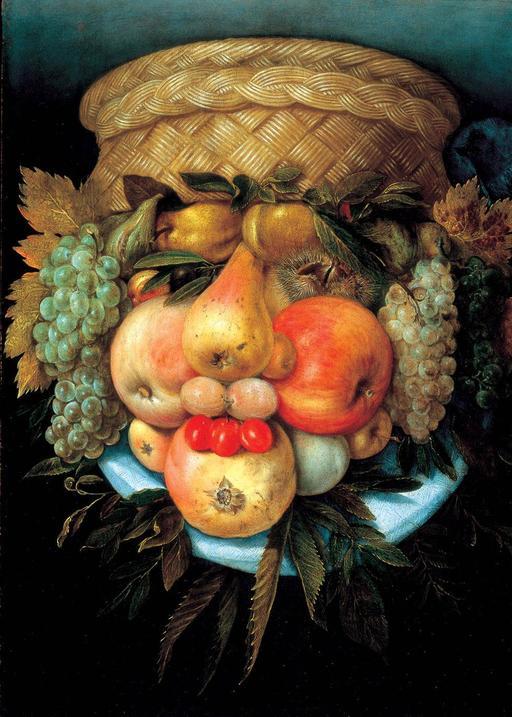 Portrait en panier de fruits