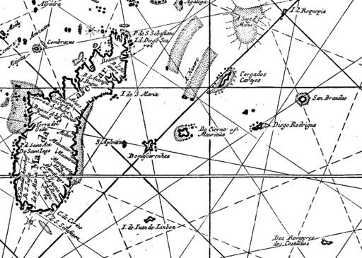 Portulan des îles Mascareignes