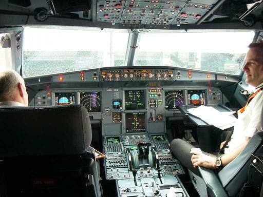 Poste de pilotage de l'Airbus