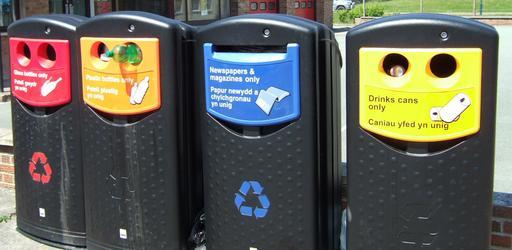 Poubelles de recyclage au Pays de Galles