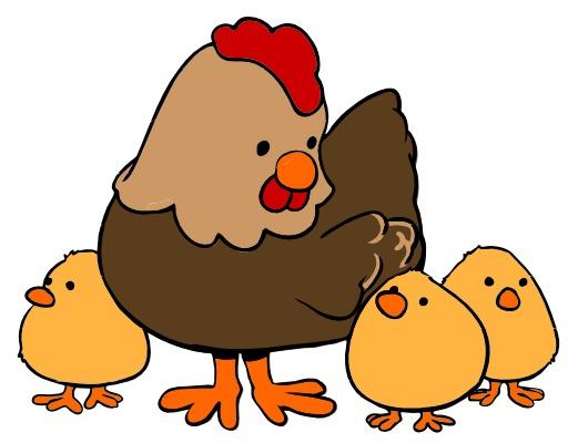Poule et trois poussins