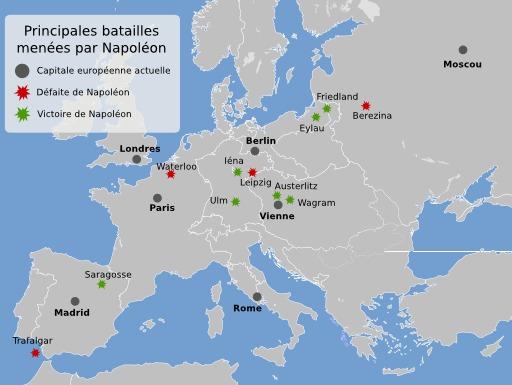 Principales batailles napoléoniennes entre 1805 et 1815