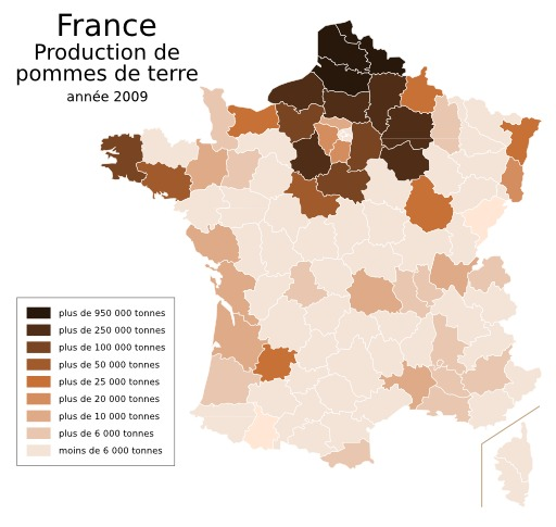 Production de pommes de terre en France