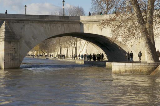 Promeneurs sous le Pont Royal à Paris