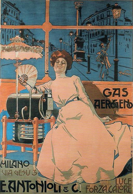 Publicité italienne pour le gas aérogène en 1902