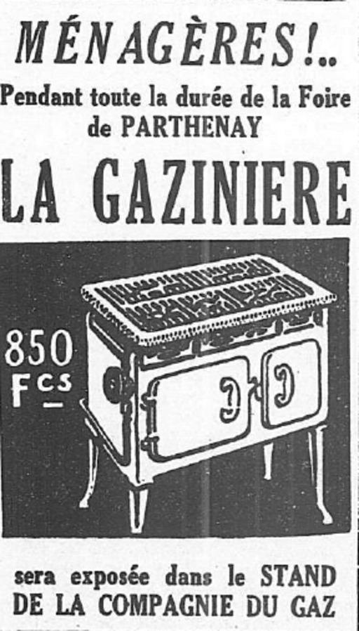 Publicité pour la gazinière