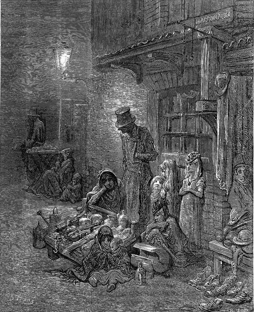 Quartiers pauvres de Londres en 1872