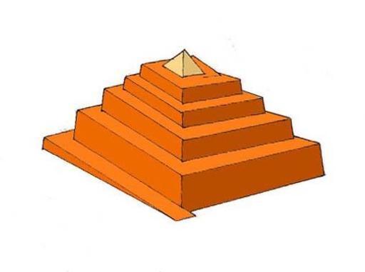 Rampe enveloppante d'accès à une pyramide