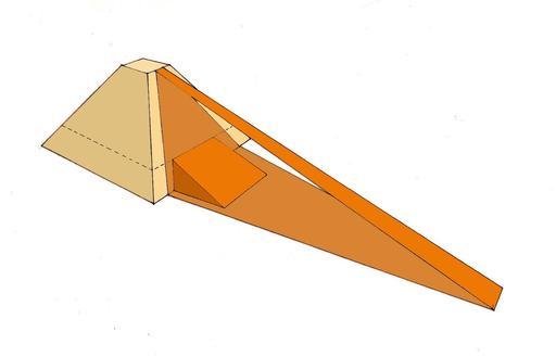 Rampe frontale d'accès à une pyramide