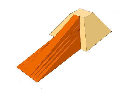 Rampe frontale d'accès à une pyramide de Lauer