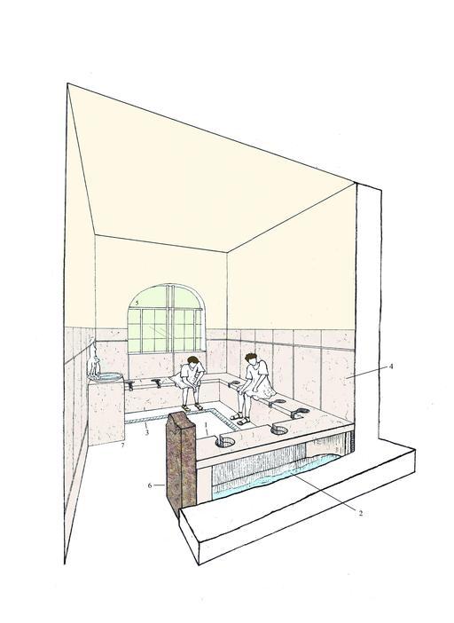 Reconstitution de latrines romaines