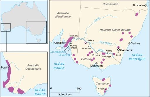 Régions viticoles en Australie