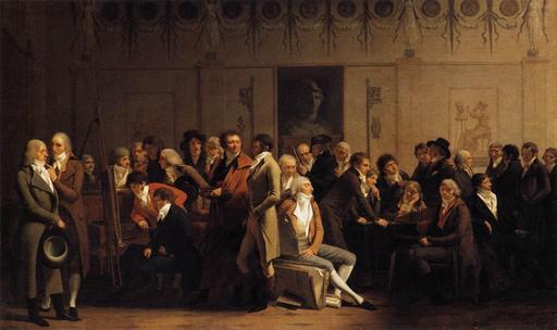 Rencontre d'artistes dans le studio du peintre Isabey