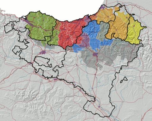 Répartition des dialectes basques en 2008