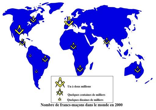 Répartition mondiale des francs-maçons en 2000