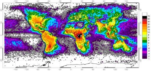 Répartition mondiale des zones à foudre