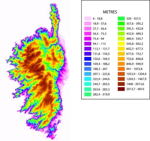 Représentation topographique de la Corse