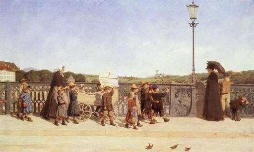 Retour des enfants de l'école en 1900