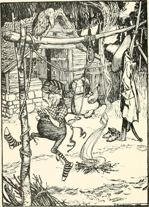 Ruimpelstiltskin devant sa cabane