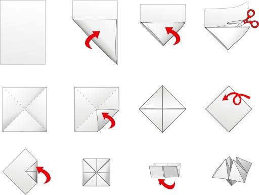 Salière en origami en douze étapes
