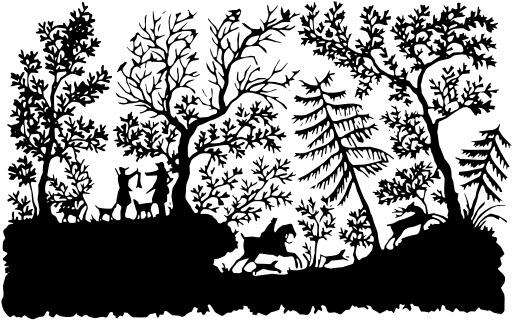 Scène de chasse en silhouette