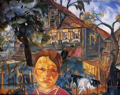 Scène de village en Russie en 1918