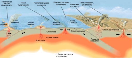 Schéma des plaques tectoniques