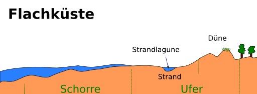 Schéma légendé en allemand d'une côte plate