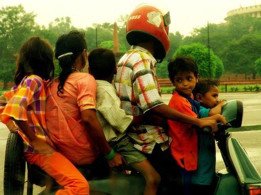 Scooter familial à Delhi