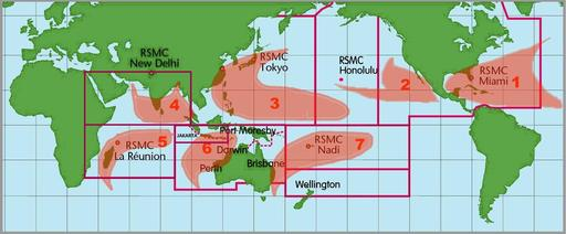 Sept zones des alertes cycloniques