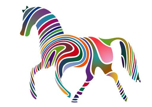 Silhouette de cheval multicolore