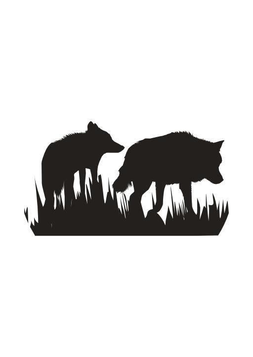 Silhouettes de deux loups