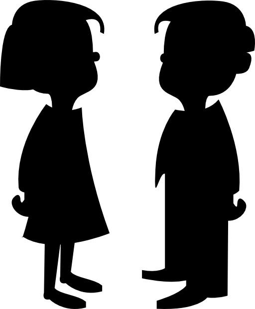 Silhouettes de garçon et fille