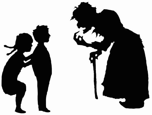 Silhouettes de Hansel, Gretel et la sorcière