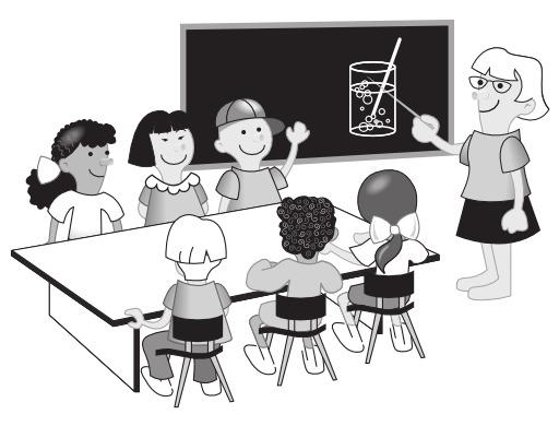Six enfants en classe