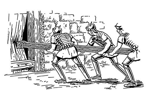 Soldats romains enfonçant une porte avec un bélier