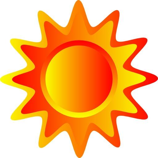 Soleil stylisé jaune et orange