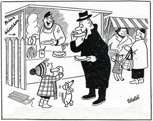 Stand de saucisses chaudes en 1955