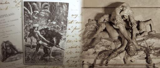 Statue de l'Orang-outan étranglant un chasseur