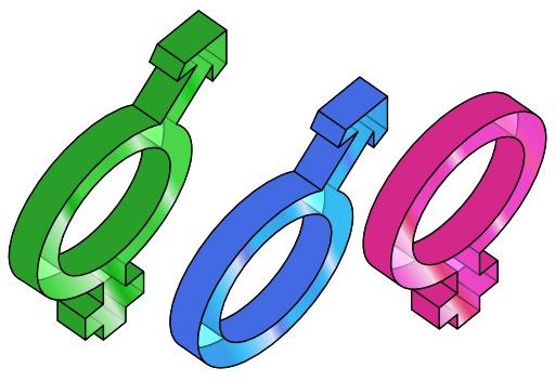 Symboles des trois genres en 3D