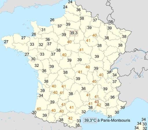 Températures du 12 août 2003 en France