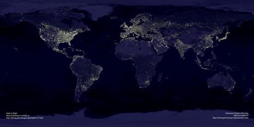 Lumières de nuit émises sur Terre
