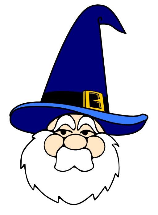 Tête de magicien au chapeau bleu