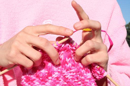 Tricotage en rose