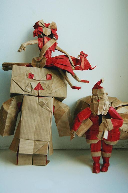 Trois papertoys en origami